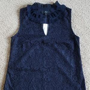 NWT J. Crew Sleeveless Embroidered Blue Top XS